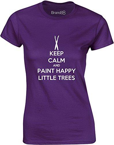 Happy Little Trees, Gedruckt Frauen T-Shirt - Lila/Weiß M = 82-86cm (Bob Ross Shirt)