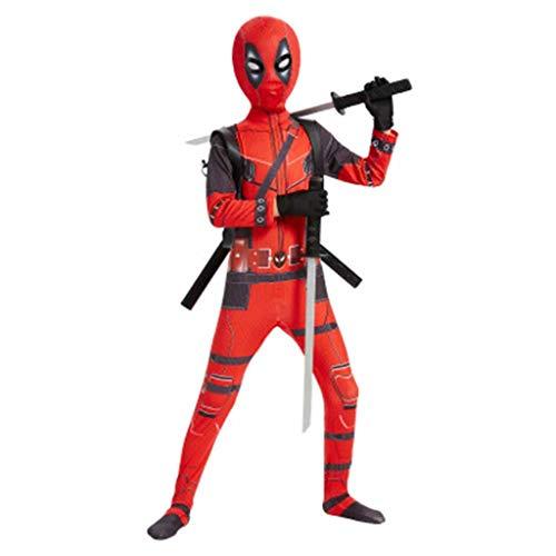 Kostüm Deadpool Deluxe - Xiaodun77 Superheld Deadpool Cosplay Kostüm 3D Print Kostüm Deluxe Full Set Overall Outfit Halloween Rollenspiel Kleidung mit Deadpool Requisiten,Rot,100