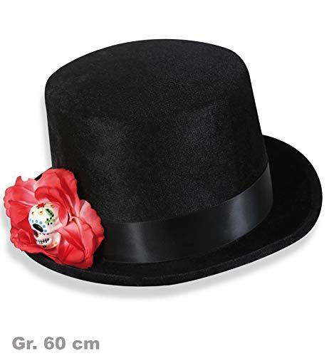 Zylinder Mexikanischer Totentag, schwarz, Gr. 60, Dia de los muertos, Hut mit Blume, Karneval Halloween *NEU bei pibivbi©
