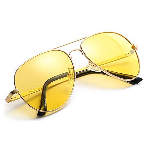 Myiaur HD Gelbe Nachtsichtbrille Autofahren Polarisiert für Damen Herren Pilotenbrille with 100{5bf73810c62ec2a548e9fc228912ae54dab6132e0430d84df49147d5bddbb15f} UVA UVB Schutz Entspiegelten (Gold-1)