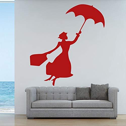 SLQUIET Mode Dame Wandaufkleber Regenschirm Schöne Frau Vinyl Wand Wohnzimmer Künstler Wohnkultur Mädchen Weibliche Raumapplikation Wandbild Mode Aufkleber Rot M 30 cm X 34 cm