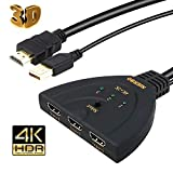 HDMI Switch,NIERBO Switcher 4K UHD 3 in 1 out Switcher Umschalter 3D 4K Verteiler Umschalter 3x1 HDMI Switch / Verteiler HDMI Kabel Schalter 3 IN / 1 OUT Splitter Adapter