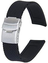 Sannysis® Silicona Negro impermeable del reloj de la correa con hebilla de implementación 22 mm