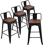 Lot de 4 tabourets de bar en métal pour tabourets de bar intérieur/extérieur 26 inch Low Back Black Wooden