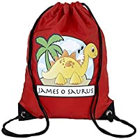 d55edf3606c3 The Supreme Gift Company Personalised Kids YELLOW Stegosaurus Dinosaur on a RED  Drawstring Swimming