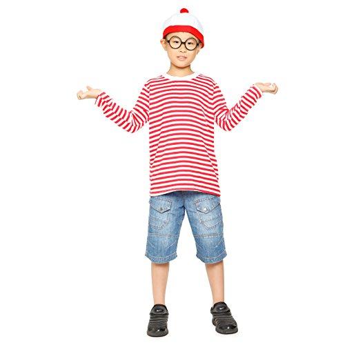 Imagen de disfraz de wally para niños camisa + gafas + gorro disfraz de halloween navidad fiesta para niño disfraz infantil  10  12 años