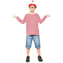 Disfraz de Wally para Niños Camisa + Gafas + Gorro Disfraz de Halloween Navidad Fiesta para Niño Disfraz Infantil - 10 - 12 años