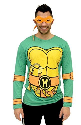 Teenage Mutant Ninja Turtles Long Sleeve Michelangelo Kostüm Erwachsene grün T-Shirt & Eye Mask (Ninja Mutant Teenage Shirt Kostüm Turtle T)