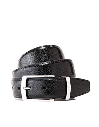 Vincenzo Boretti Cinturón hombre de piel con hebilla plateada, superficie de piel de serpiente, logotipo de metal negro 105 cm
