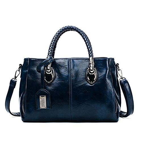 Vintage Öl Wachs Leder Handtaschen Frauen Taschen Designer Damen Handtaschen Für Frauen Neue Tasche Sac A Main Femme Blue
