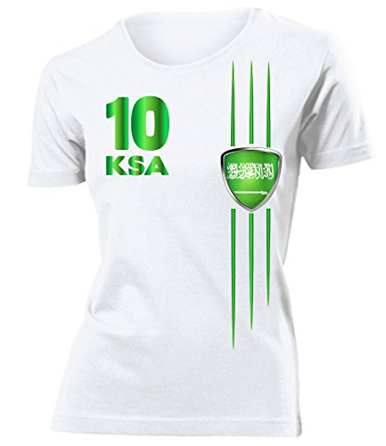 Golebros Saudi Arabien Fanshirt Streifen 5841 Frauen T-Shirt (F) Gr. L