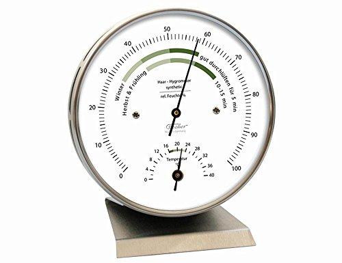 Fischer Raumklima Hygrometer mit Thermometer, Edelstahl, Mehrfarbig, Einheitsgröße