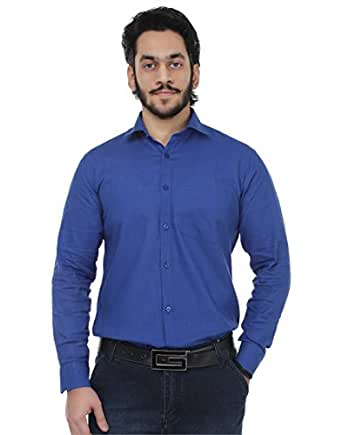 Kraasa Men's Solid Formal Blue Linen Shirt (Size : X-Large)