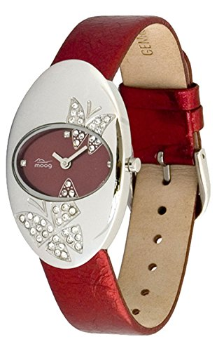 Moog Paris Butterflies Women's Watch with Red Dial, Red Genuine Leather Strap & Swarovski Elements - M44292F-002