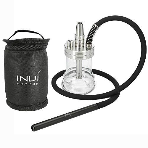 INVI® Nano Reise Shisha Nano Edelstahl Black Edition | Mit Schlauchset und Transport-Tasche (Silber)
