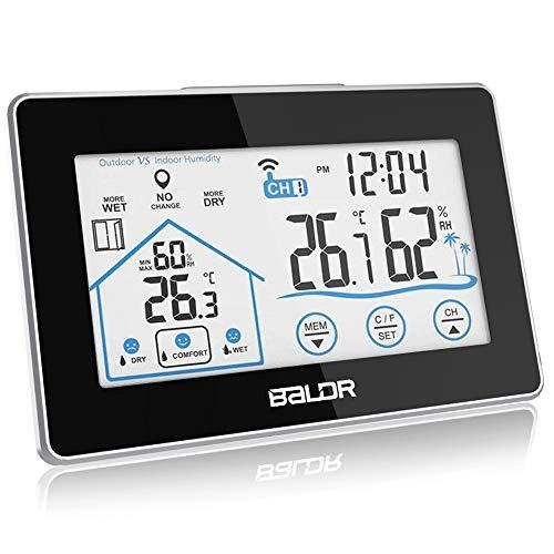 Wetterstation Funk mit Außensensor, Digital Thermometer Hygrometer, Wanduhr mit licht und Touchscreen für Innen und außen