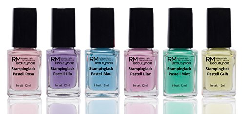 Stampinglack Pastell Set 6x12ml Rosa Lila Blau Lilac Mint Gelb Stamping Lack Nagellack Nail Polish RM Beautynails - Platten Konad Set