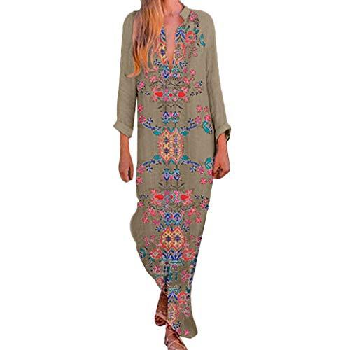 Bibao Damen Sommer Strand Casual Boho Floral Print V-Ausschnitt Split Saum T-Shirt Übergröße Baumwolle Leinen Kaftan Kleid -