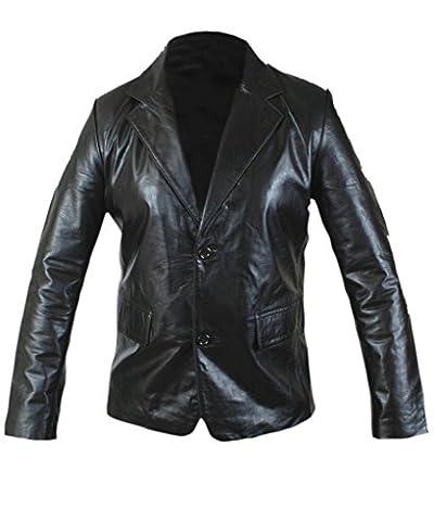 F&H Men's Genuine Leather Slim Fit 2 Button Blazer 5XL Black