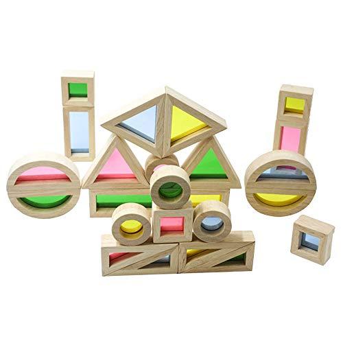 GZQ 24 Blocs en Bois de Construction empilés Ensemble de Jeu, empilage Arc-en-Ciel empilant Le Jeu Construction Jouets de Construction Ensemble, Jouets éducatifs d'apprentissage préscolaire coloré