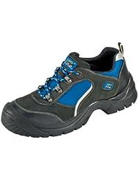 """Chaussures Protectrices S1 """"Göhren"""" Imitation des Chaussures Sportives, Cuir de Velours, Bouchon d'acier Semelle PUR Antidérapante - noir-bleu, 37"""