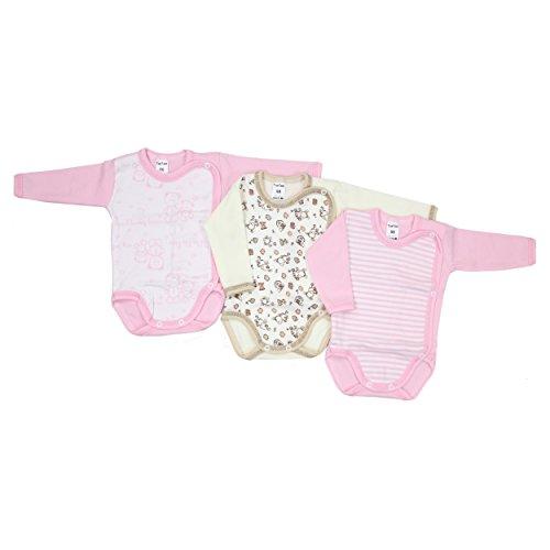 3er Pack Baby Wickelbody Langarm 100% Baumwolle Langarmbody Jungen Babybodys Set Mädchen , Farbe: Mädchen, Größe: 68