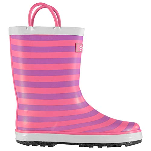 Cotswold Captain Wellington Boots Infants Girls Pink Stripe Wellies Gum Boots