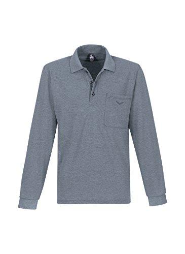 Trigema Herren Poloshirt 621652, Grau (Steingrau-Melange 246), Large (Brusttasche Und Hoch Groß T-shirt)