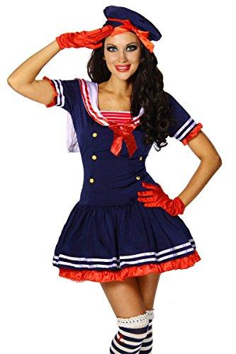 Maritimes Kostüm-Set `Matrose` für Karneval und Fasching mit Kleid und Mütze A12388, Größe:34-38;Farbe:dunkelblau (Matrosen Kostüm Set)