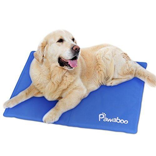 Pawaboo Pet Kühlmatte, 19,7 x 15,7 IN Druck Aktiviert Selbstkühlen Kalt Gel Matte für Couch, Autositze und Hundebette, Macht Haustiere Hunde Katzen Cool und Komfort, 40 * 50cm, Blau - Nylon-gel-pinsel