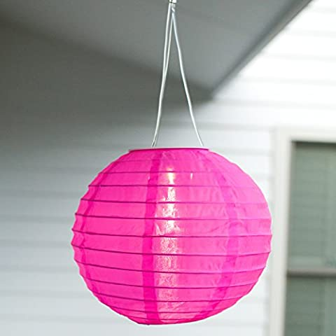 Lampion Chinois LED Solaire Rose à Suspendre, 20cm par Lights4fun