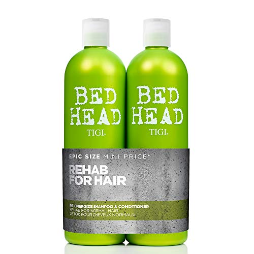 BED HEAD by TIGI Urban Antidotes Re-energize Tween Duo Daily Shampoo & conditioner for Normal Hair - 750 ml (Pack of 2)