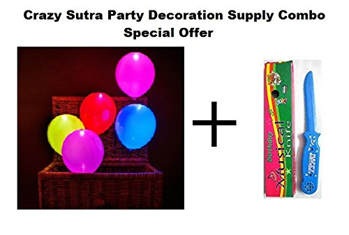Crazy Sutra Party Decoration Supply Combo Special Offer: Pack Of 10 Premium Quality Led Balloons + Happy Birthday Musical Knife