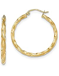 18quilates 750oro espiral parcialmente mate pendientes de aro pendientes oro amarillo–prim2