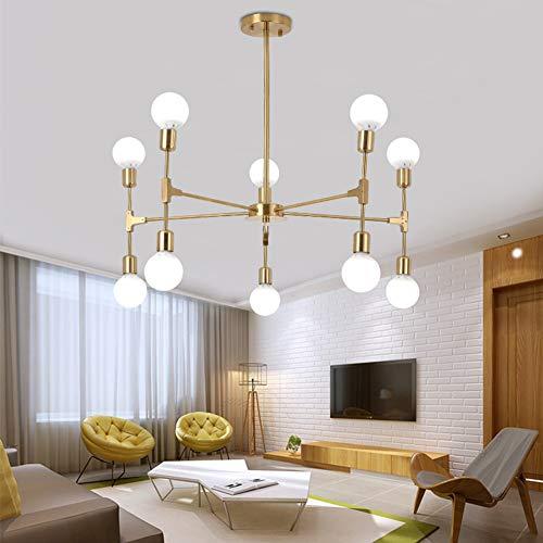 FEE-ZC Sputnik Kronleuchter Modern Gold, Pendelleuchte Deckenleuchte Einfach Gold Einstellbar 110V-220V Für Schlafzimmer Esszimmer Wohnzimmer, 10 -
