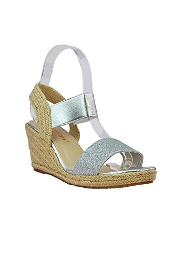 Sandales Compensées Argent Gris Argent