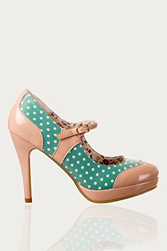 Dancing Days by Banned – rockabilly Pumps – Mary Jane Polka Dot Rouge Aqua Cream
