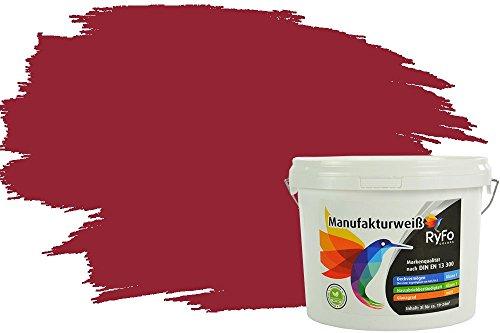 RyFo Colors Bunte Wandfarbe Manufakturweiß Kirschrot 3l - weitere Rot Farbtöne und Größen erhältlich, Deckkraft Klasse 1, Nassabrieb Klasse 1