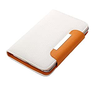 Jo Jo Z Series Magnetic High Quality Universal Phone Flip Case Cover Stand For Xolo Omega 5.0 White Orange