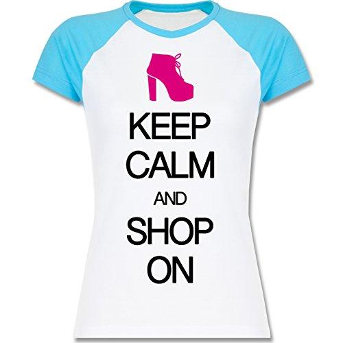 Keep calm - Keep calm and shop on - zweifarbiges Baseballshirt / Raglan T-Shirt für Damen Weiß/Türkis