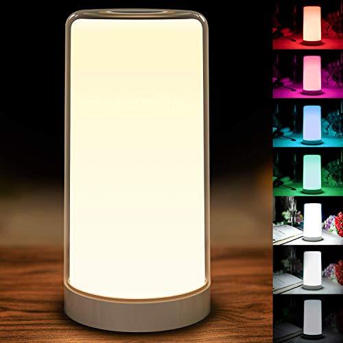 LED Nachttischlampe mit Berührungssensor, Amouhom Touch Control Nachtlicht mit 5000-6500K Dimmbares Warmes Weißlicht und 256 RGB Farbwechsel (W1)