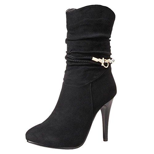 MissSaSa Damen Ankle-Strap Stiletto Spitz Stiefeletten (44, Schwarz)