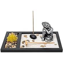 meditando estatua de buda sentado jardn zen incienso quemador candeleros