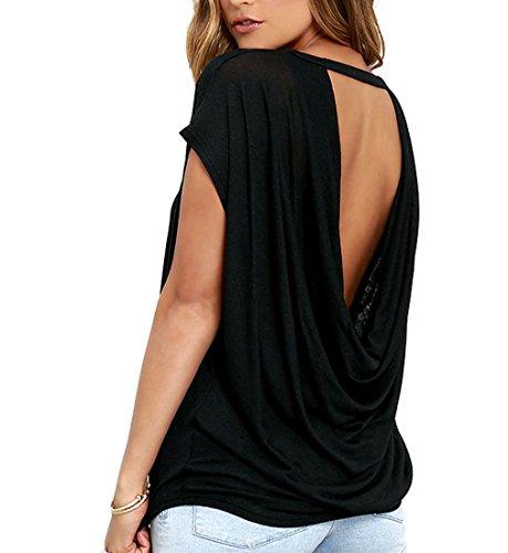 iMELY Damen Shirt Casual Blusen Rückenfrei O Neckline Loose Fit Fashion Top Tee T-Shirts (S, Schwarz)