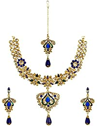 Fabula Blue & Green Necklace Set With Drop Earrings & Maangtikka For Women