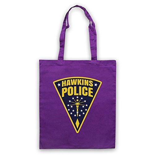 Inspiriert durch Stranger Things Hawkins Police Badge Logo Inoffiziell Umhangetaschen Violett