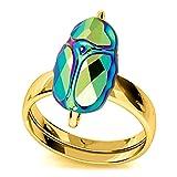 Lily-Crystal [Q4191 - Handgemachter Silberring (SSccaarraabb eee) grüner Goldener Skarabäus - 12x8 mm.