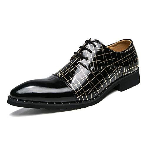 S.Y.M Herrenmode Business Oxford Lässige Bequeme Runde Spitze Lace-Up Gestreifte Textur Formelle Schuhe (Color : Black Gold, Größe : 41 EU) - Gestreifte Spitze