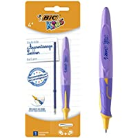 BIC Kids Twist System Stylo-Bille d'Apprentissage Ergonomique Pointe Moyenne (1,0 mm) - Encre Bleu - Blister de 1 + 1 Recharge - Coloris aléatoire