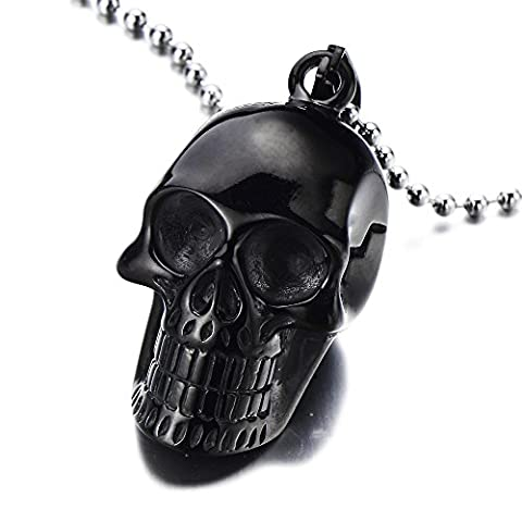 Gothic Punk Mens Black Skull Pendant Stainless Steel Necklace High